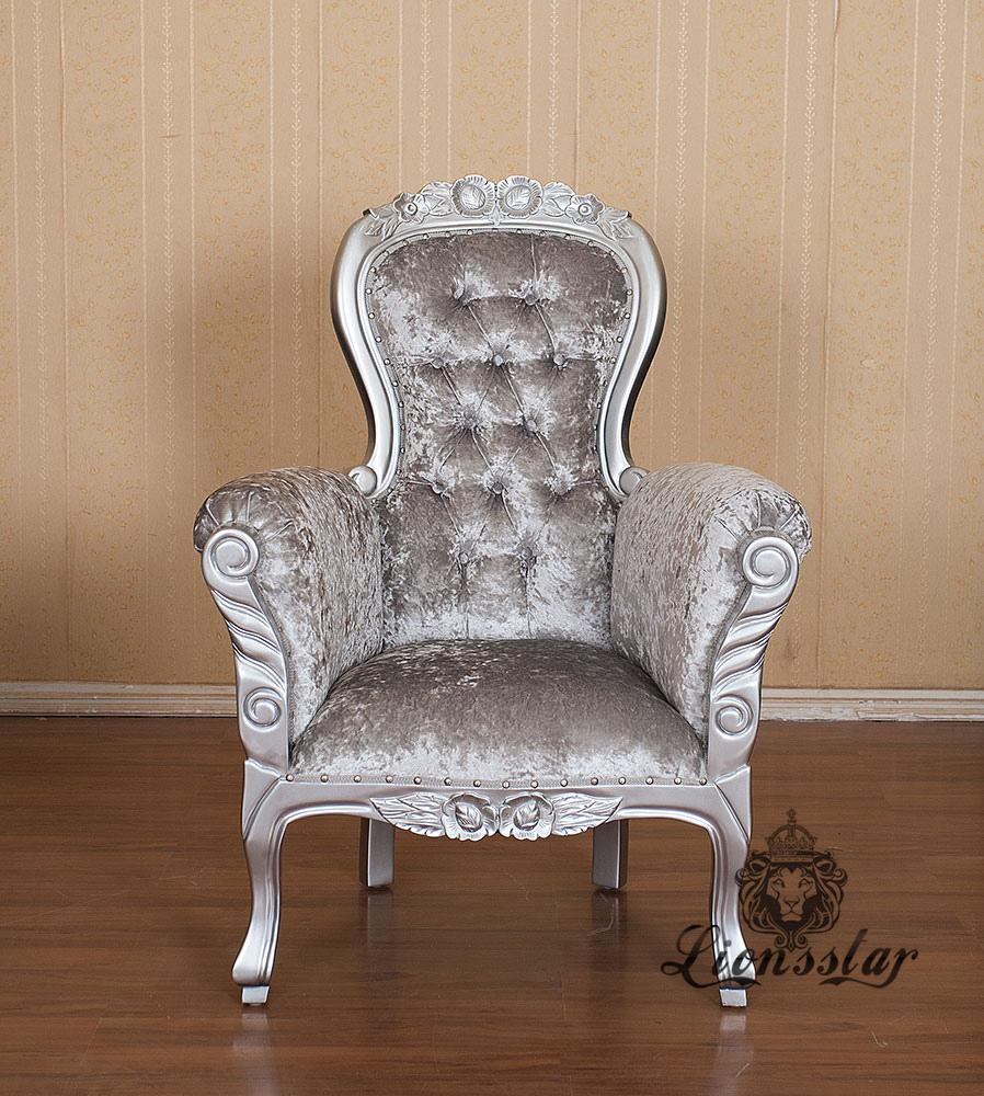 Grandfather Chair Mahagoni Silber