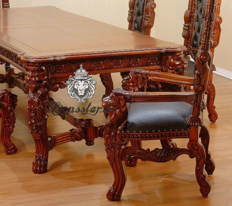 Luxus Esstisch Kolonialstil Löwe Mahagoni