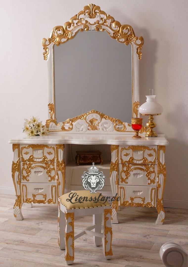 Barock Spiegelkonsole Rococo Weiß-Gold