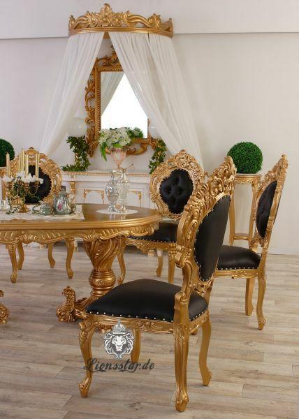 Leder Stuhl Gold-Schwarz