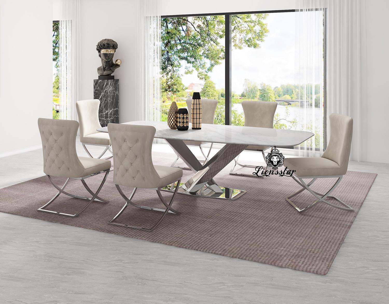 Luxus Designer Esstisch Bridge Silver