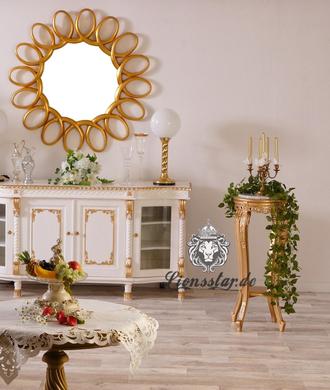 Blumensäule Pedestal-Säule-Gold-Weiß-Marmor