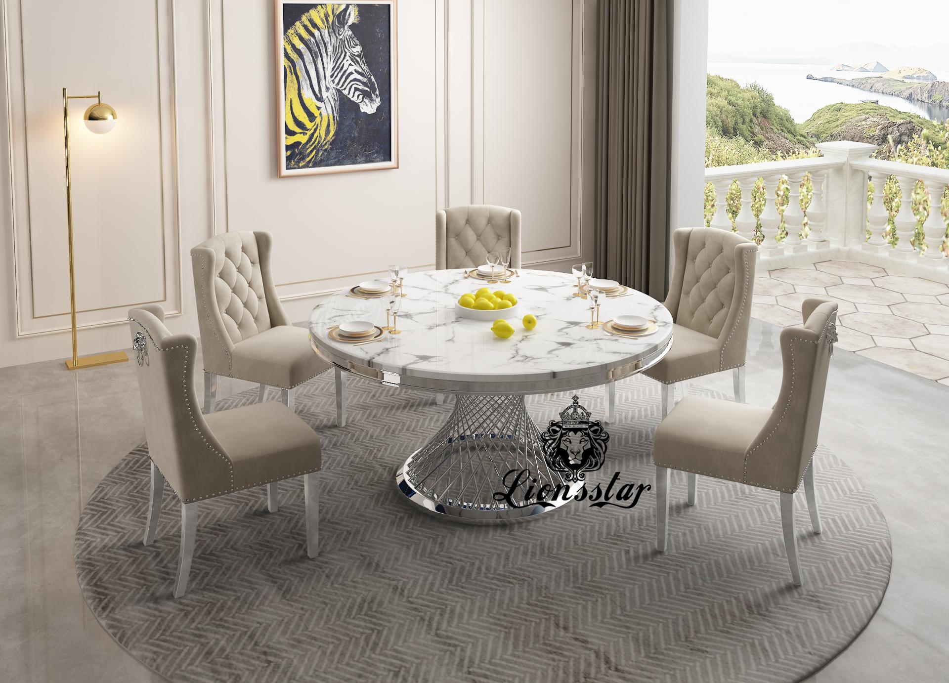 Designer Esstisch Set Silver Spirit