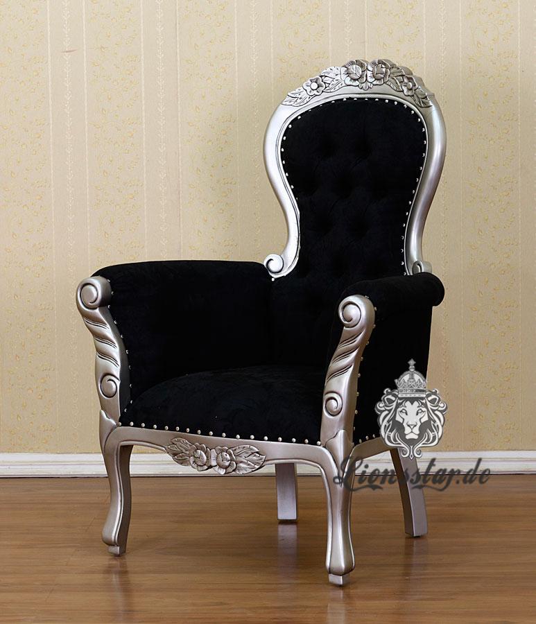 Luxus Stuhl Silber Schwarz