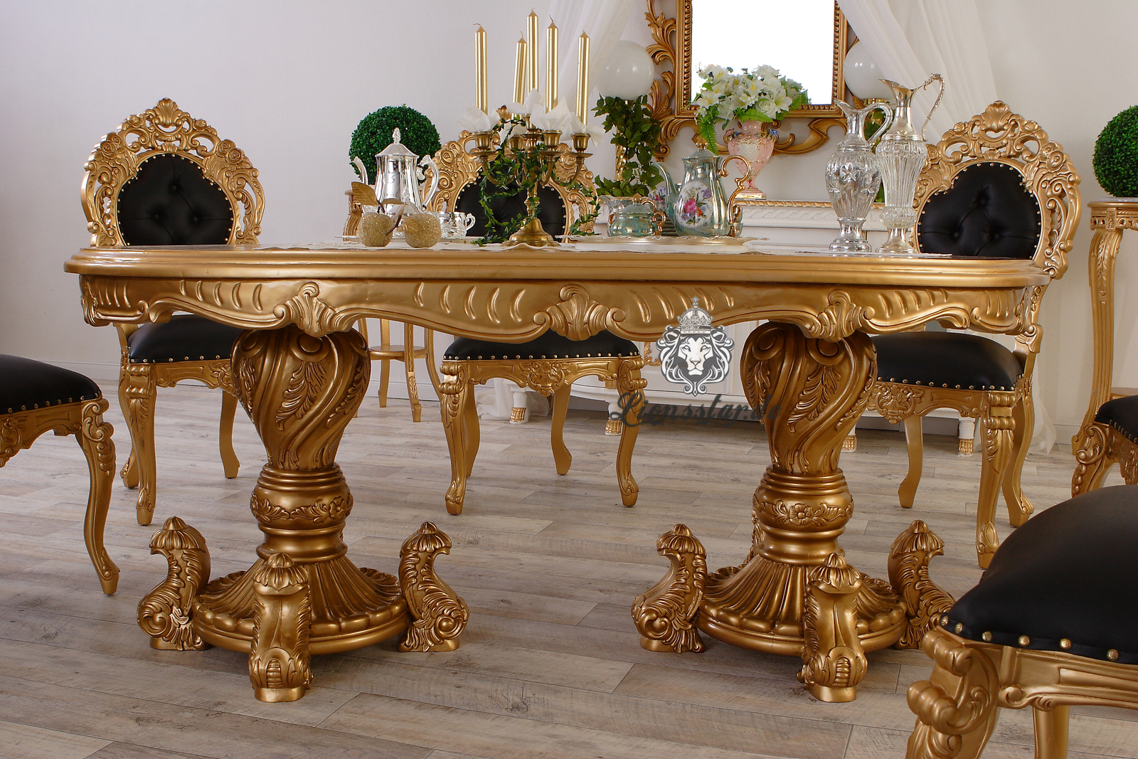 Luxus Esstisch Barock Louis Gold Schwarz