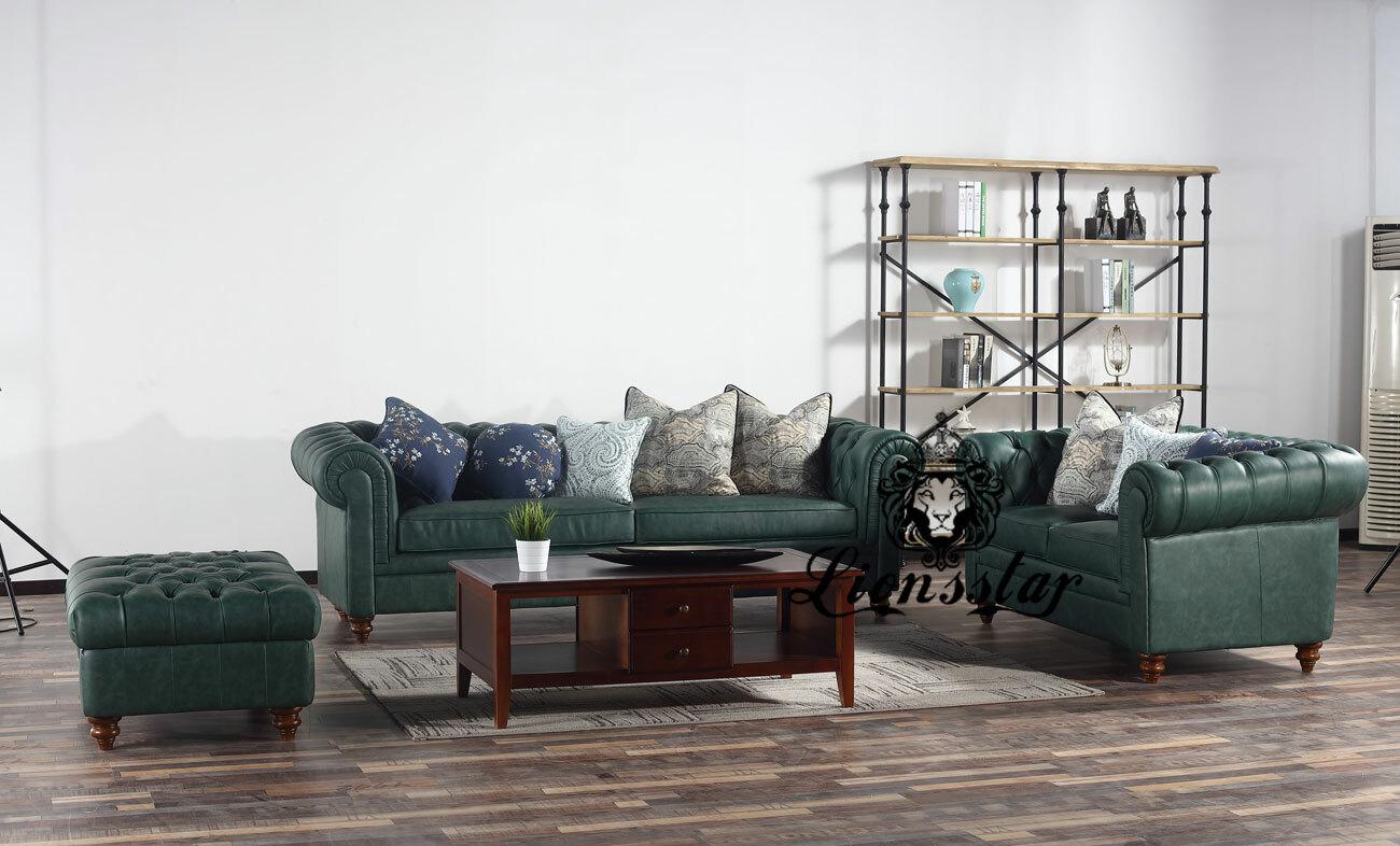 Stilvolles Design Sofa Set Kontor Antikgrün