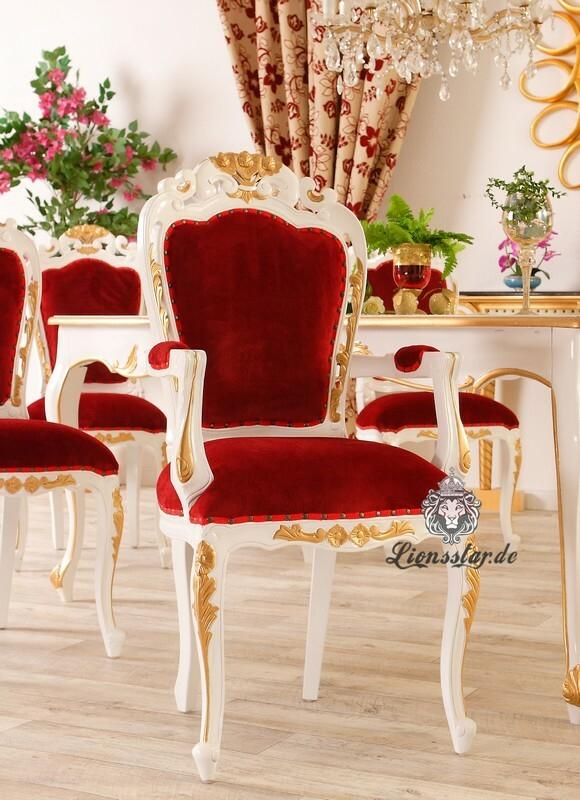 Luxus Stuhl Barock Mahagoni Weiss Gold Armlehne