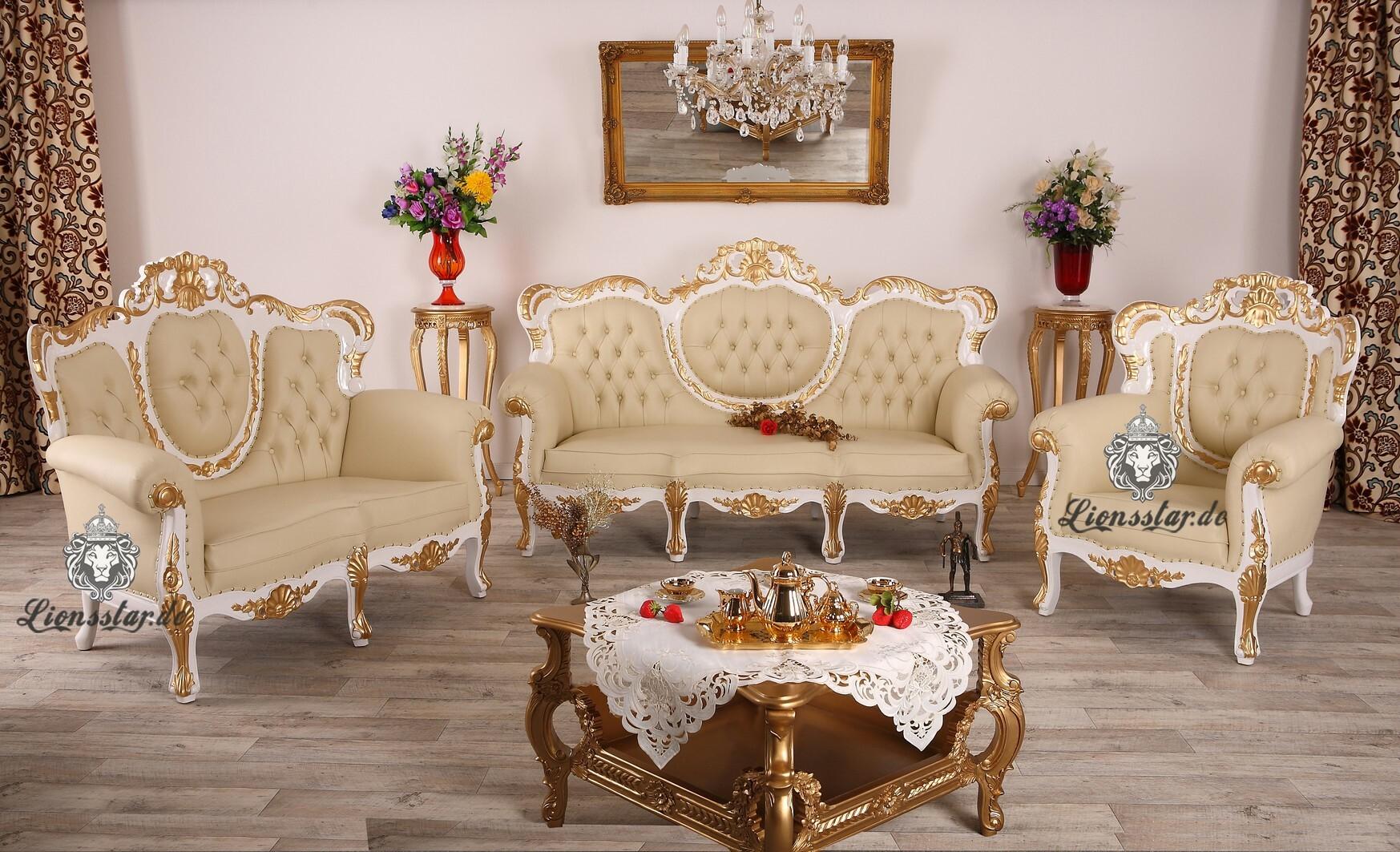 Sofagarnitur Weiß Gold