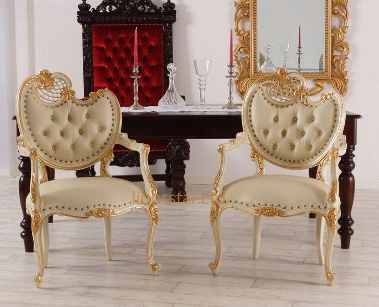 Luxus Stuhl Weiß Gold