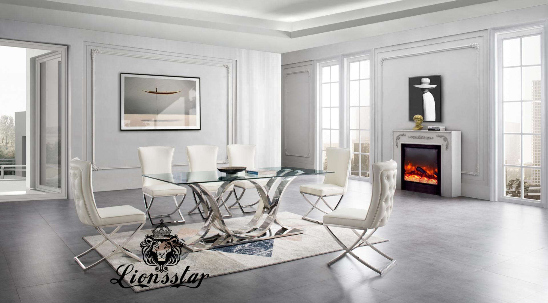 Luxus Esszimmer Stuhl Light Loft Chromgold