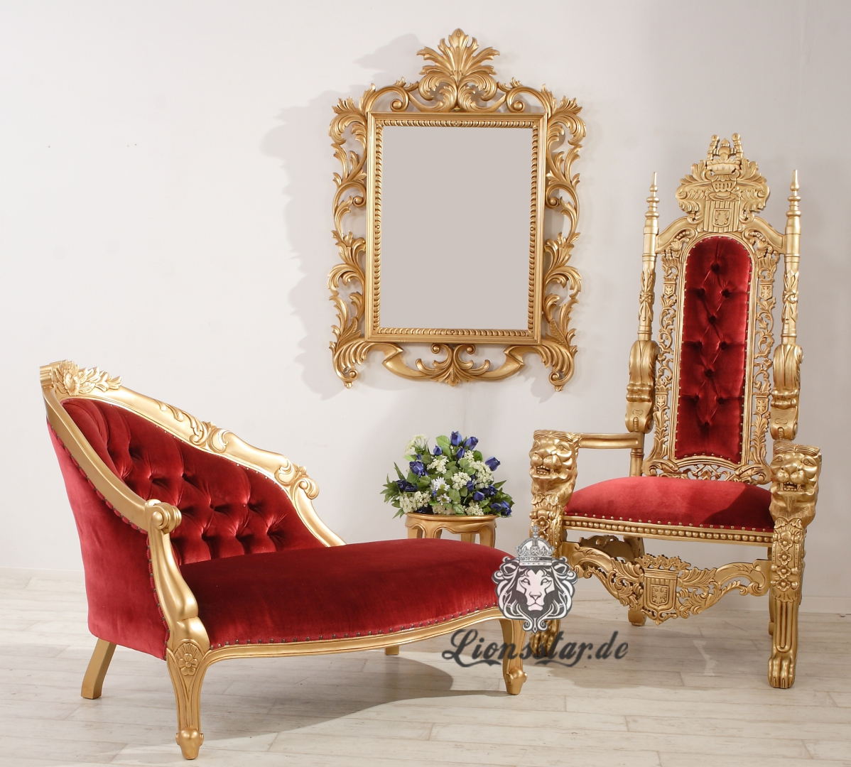 Luxus Recamiere Rococo Gold-Rot