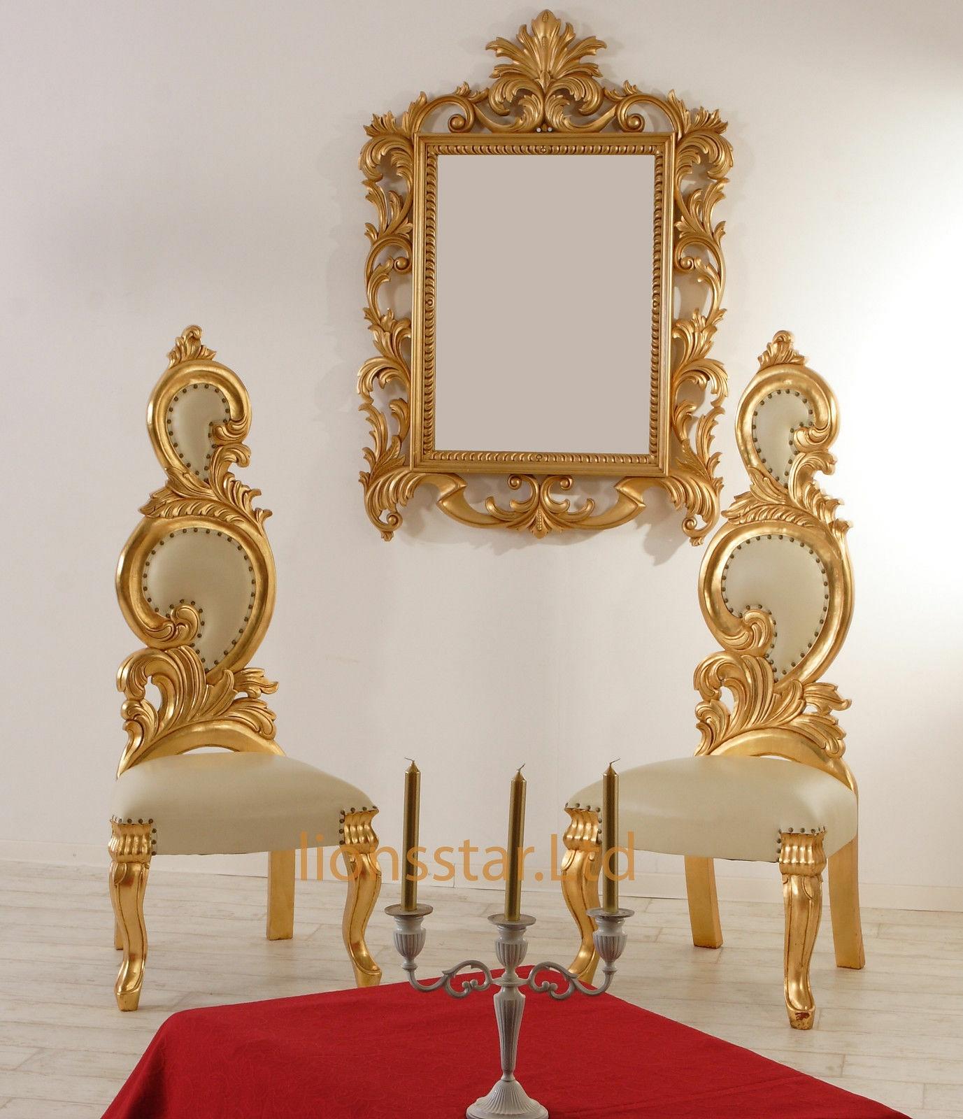 Luxus Stuhl Barock Mahagoni Gold Rose