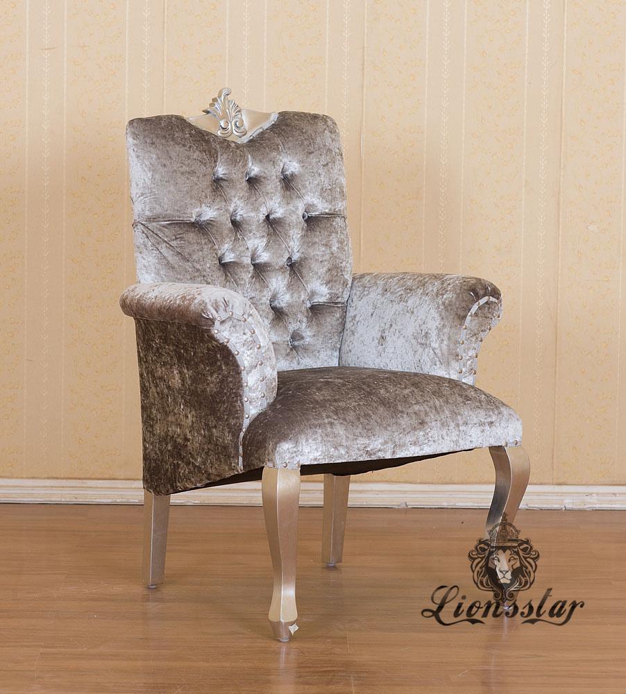 Luxus Sessel Barock Mahagoni Silber Samt