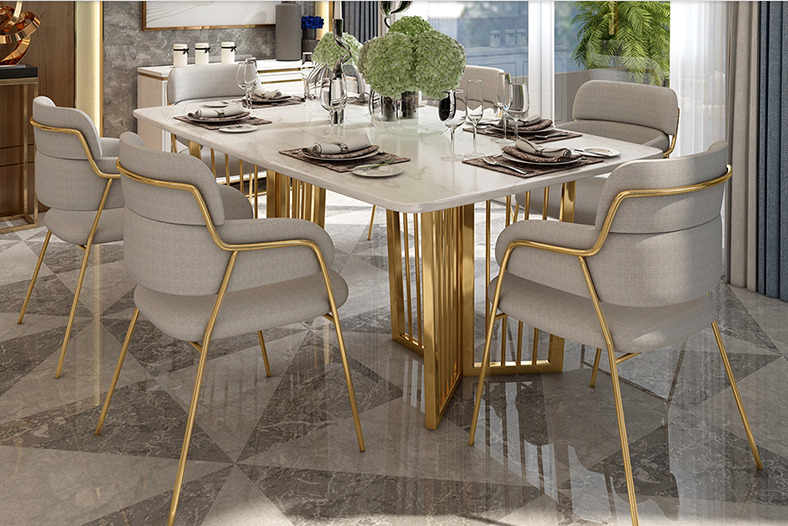 Luxus Designer Esstisch Set Gold