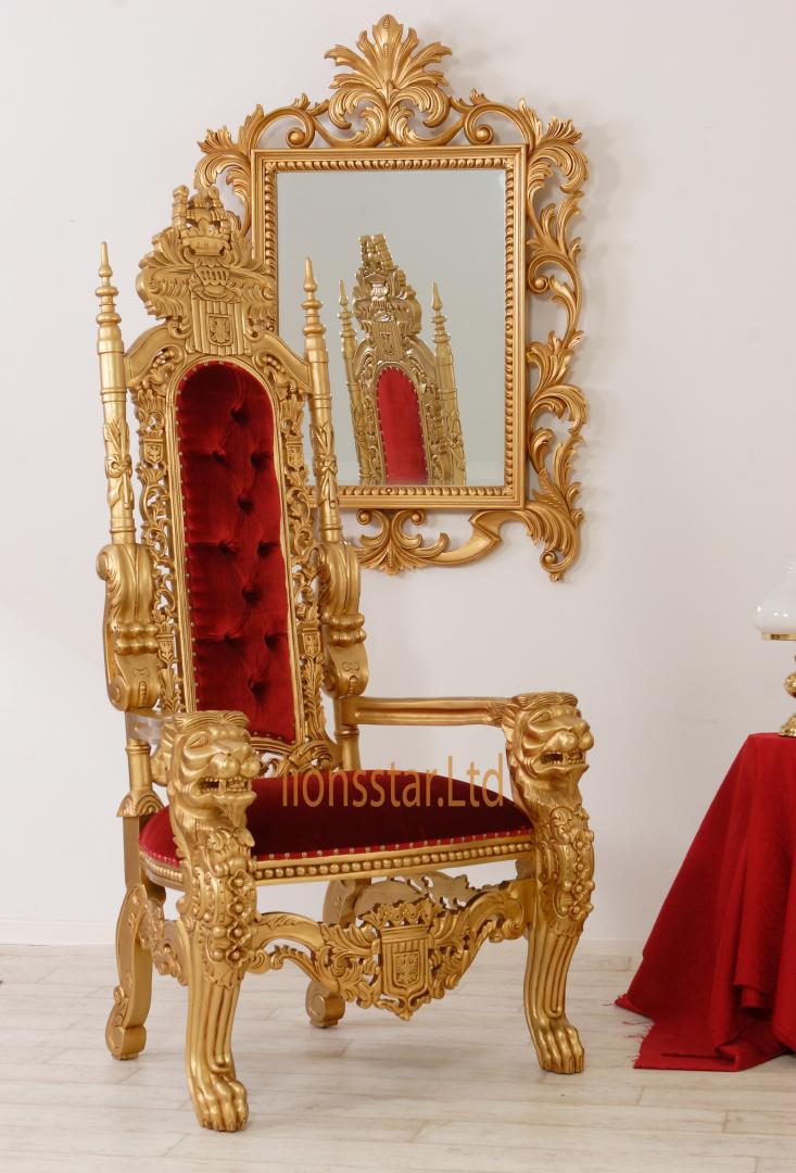 Thronstuhl Löwe Gold Rot