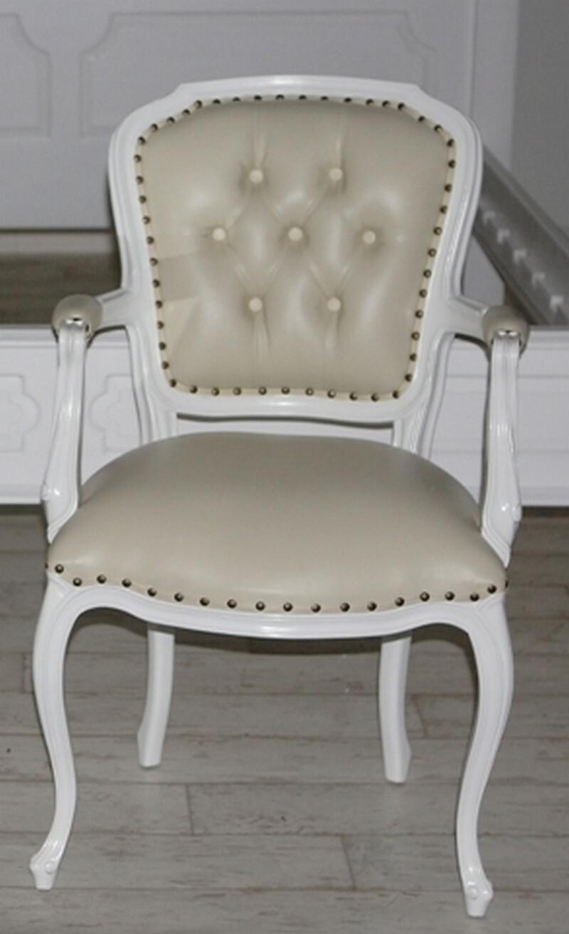 Stuhl Barock Mahagoni Shabby Weiß