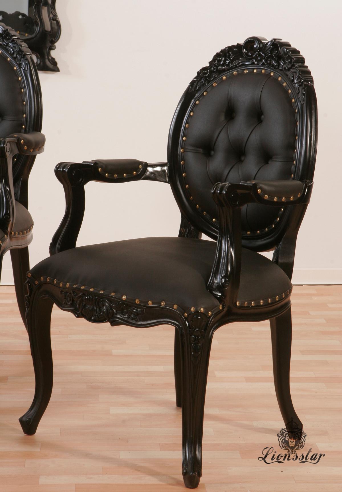 Stuhl Kunstleder Schwarz