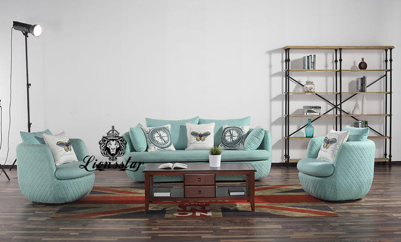 Designer Sofa Set Molly Mint Blau