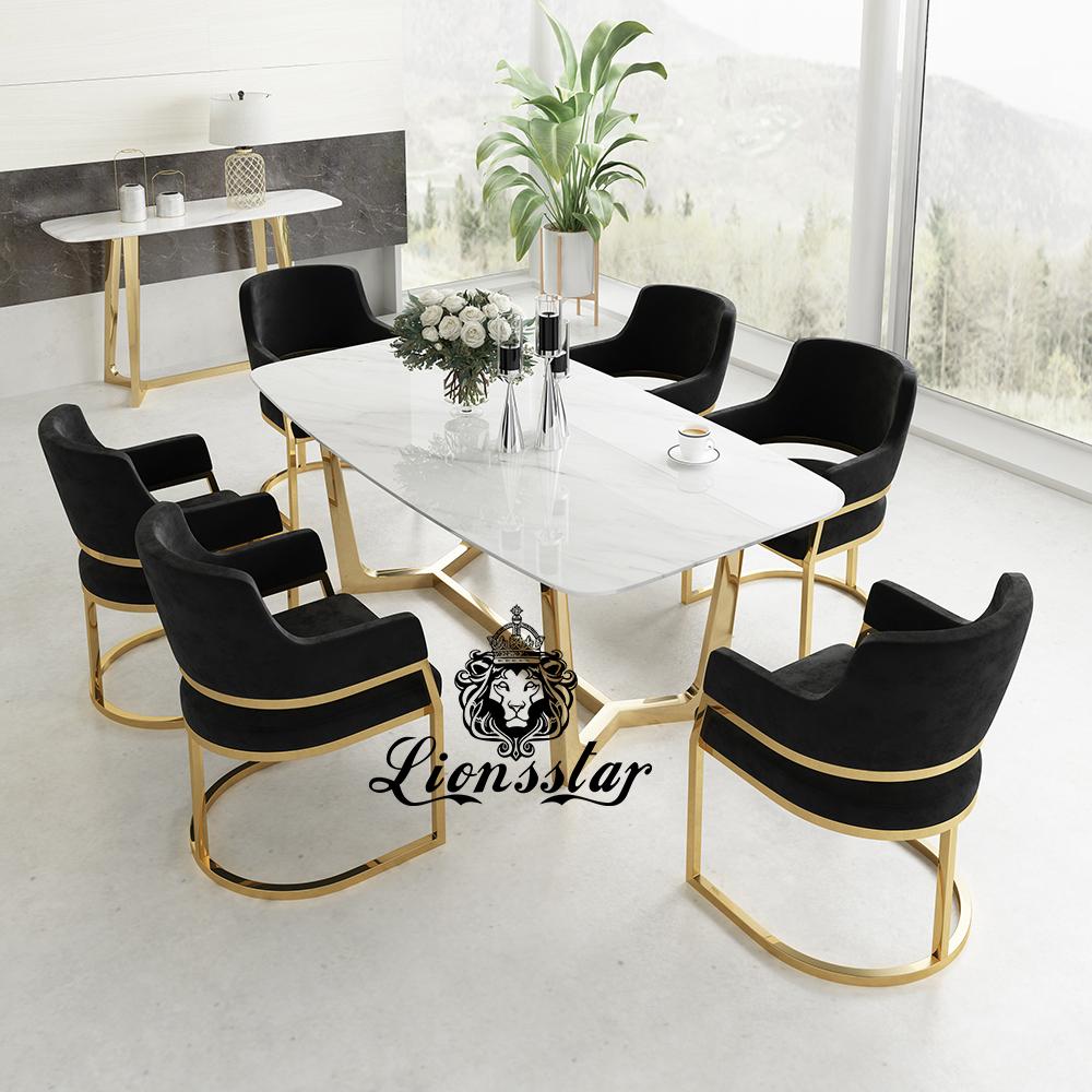 Luxus Esstisch Set Edel Metall Design