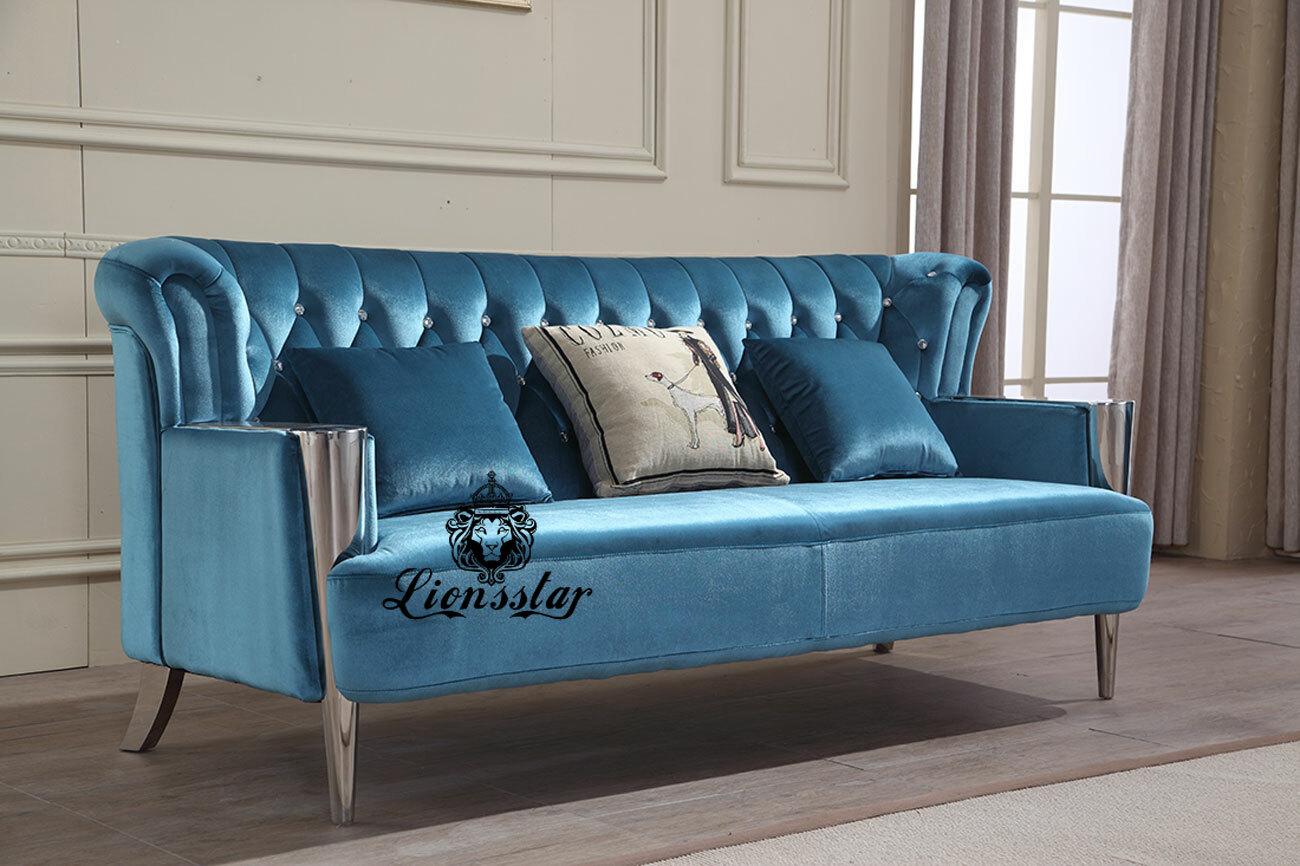 Luxus Sofa Set Blue Shiny