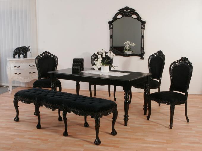 Luxus Stuhl Barock Schwarz