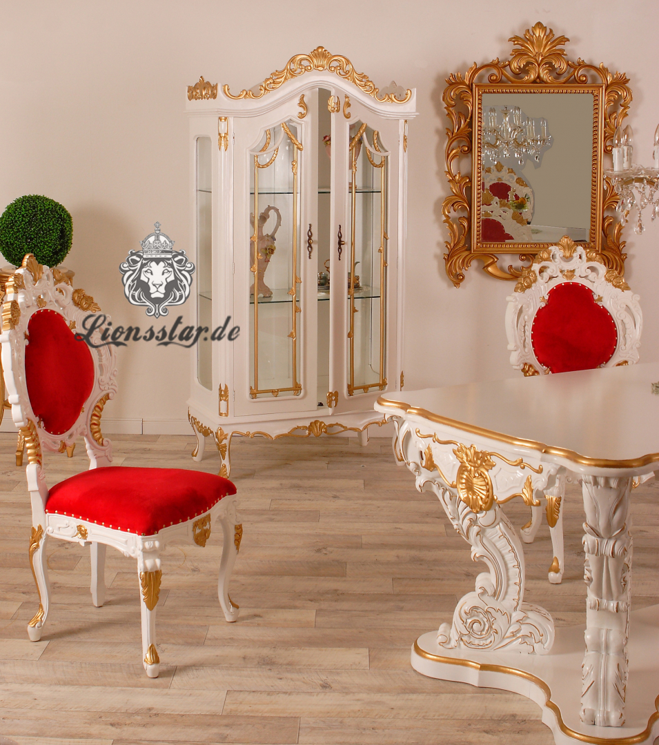 Luxus Vitrine Massivholz Barock Weiß