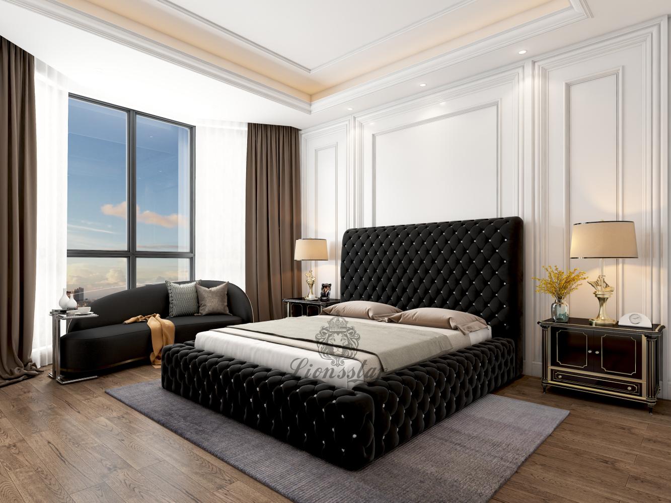 Luxus Designer Bett Chesterfield Big Wall