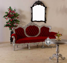 Barocksofa Silber-Rot