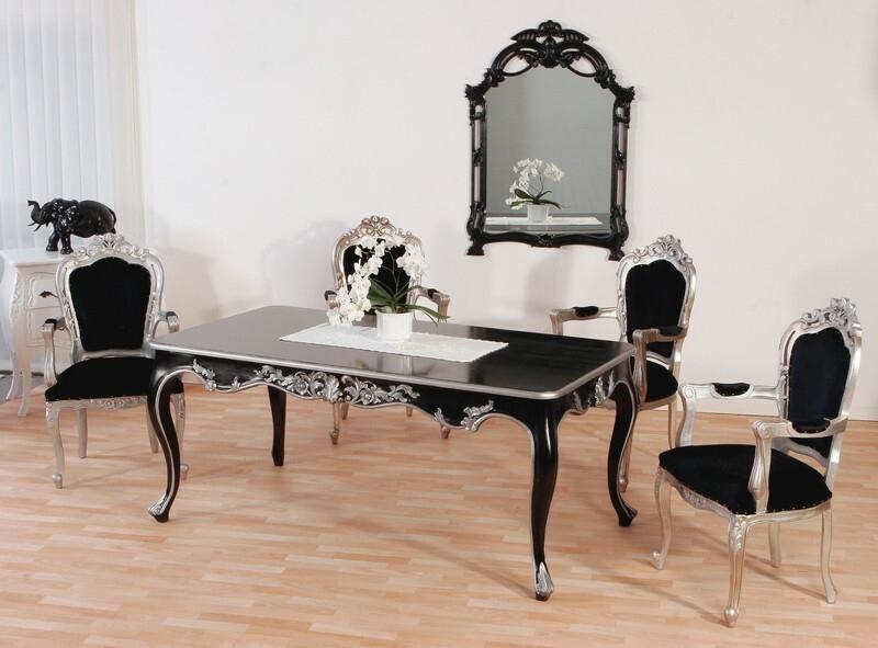 Esstisch Barock Venezia Schwarz Silber