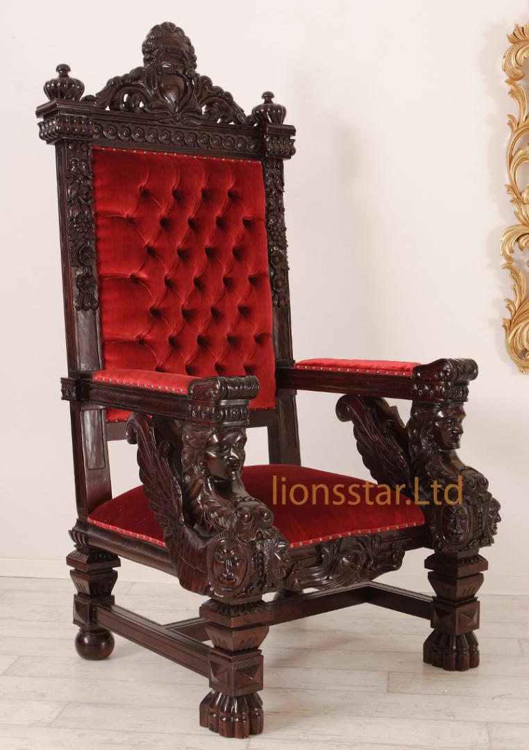 Thronstuhl Sphinx Braun Rot
