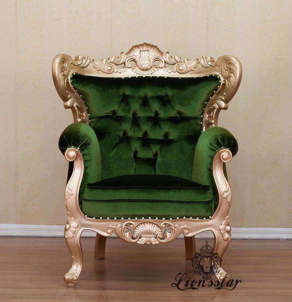 Thronstuhl Barock Goldgrün