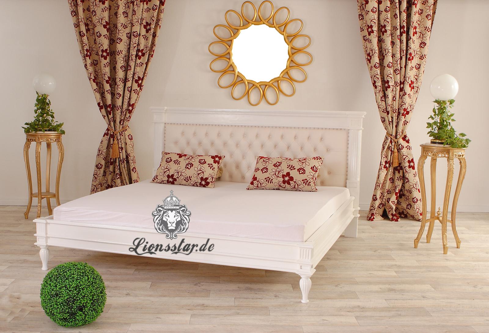 Bett Kolonialstil Weiß