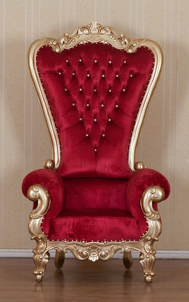 King Chair Samt Rot