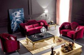 Luxussofaset Rot Samt