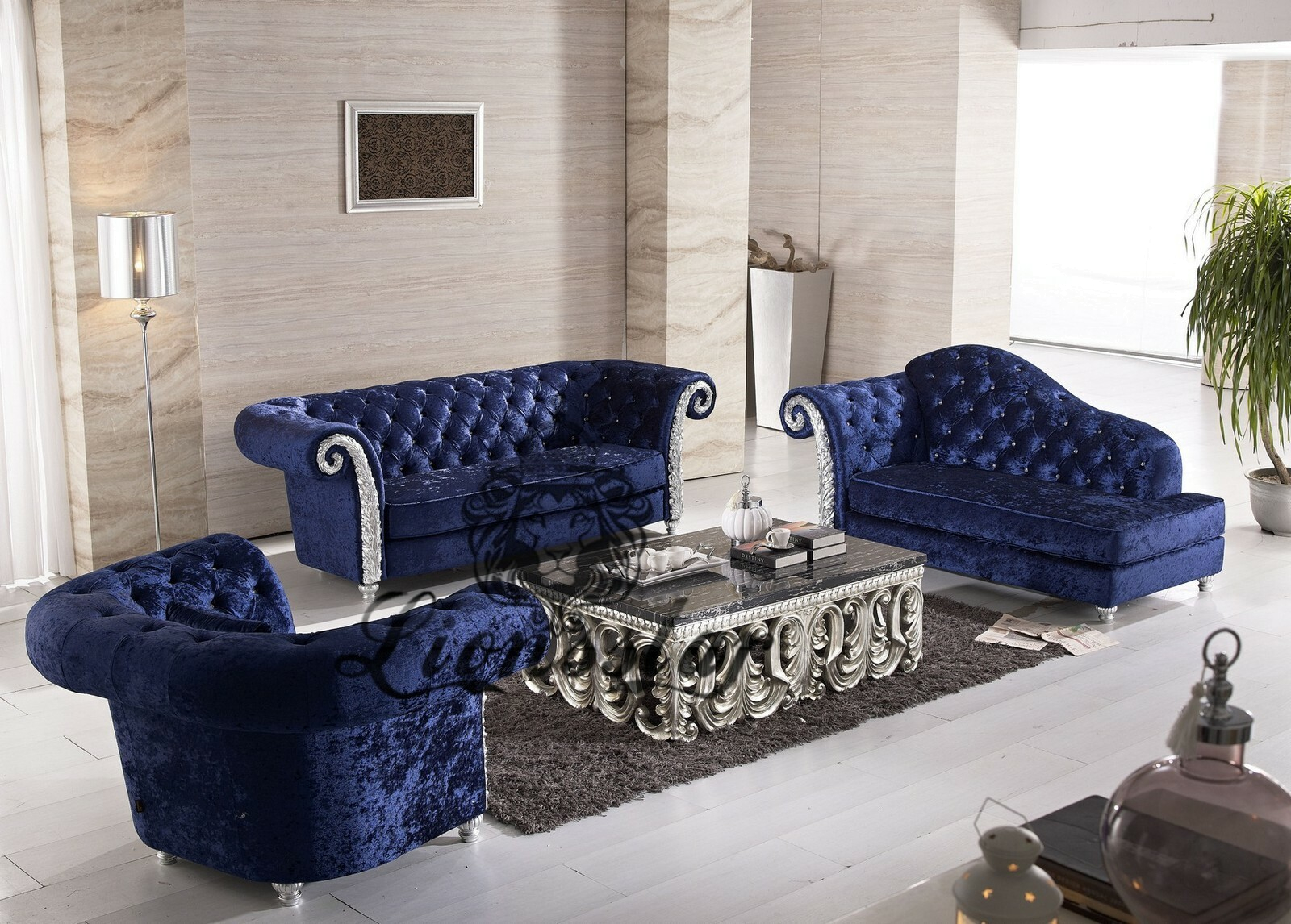 Couchgarnitur Samtstoff Blau