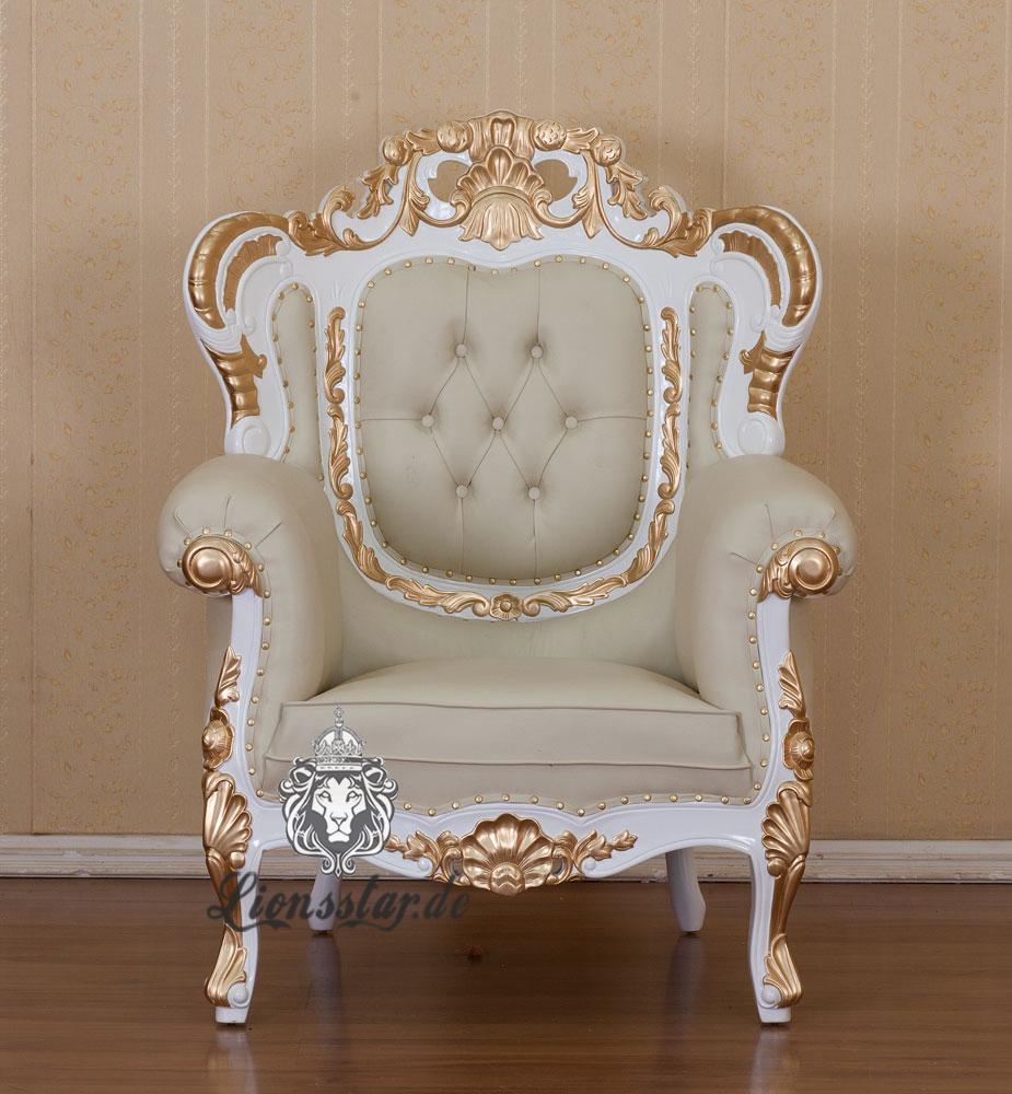 Ledersofa Barock Weiß Gold