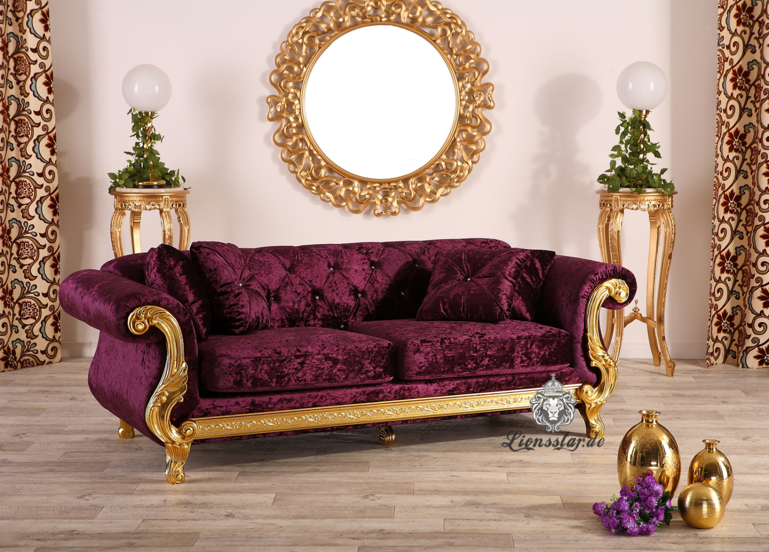 3er Barock Sofa Purpur
