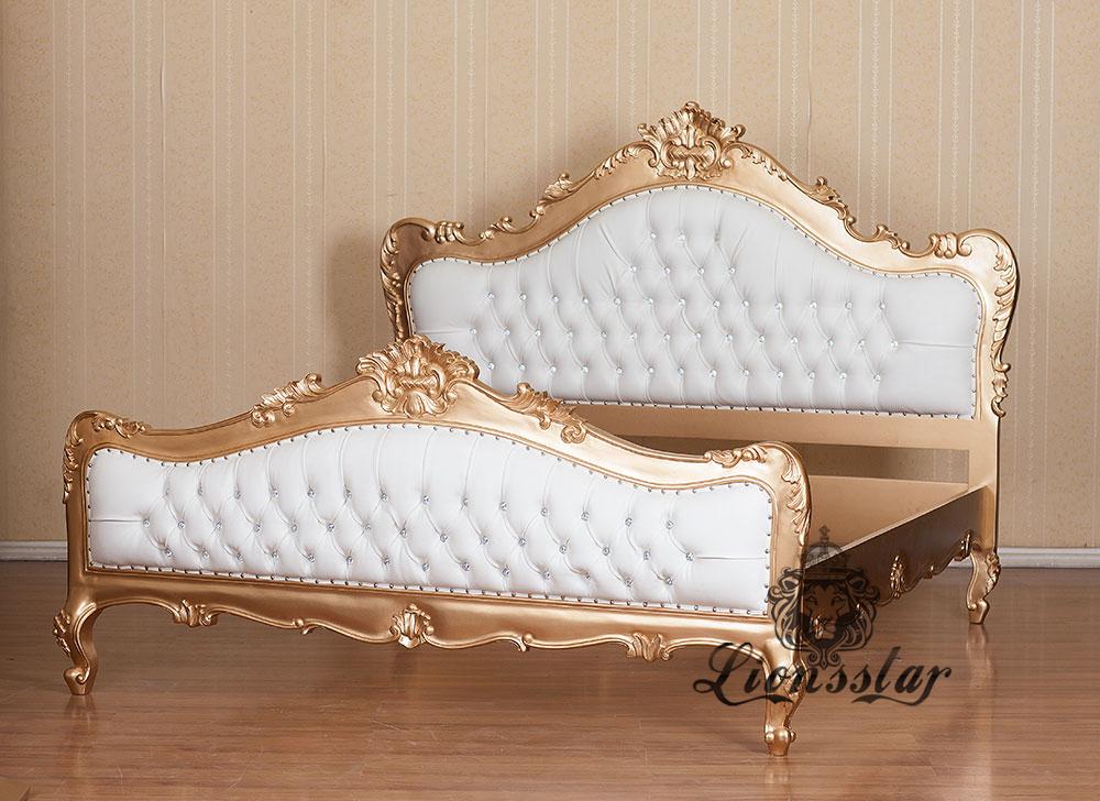 Rokoko Louis Bett Gold Weiß