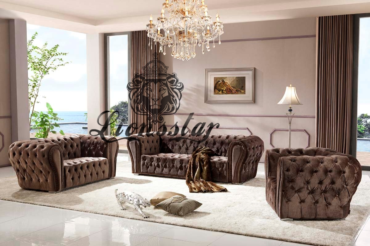 luxus sofa set braun lionsstar gmbh. Black Bedroom Furniture Sets. Home Design Ideas