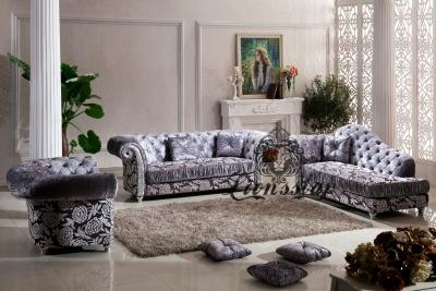 Couchgarnitur Samtstoff Grau