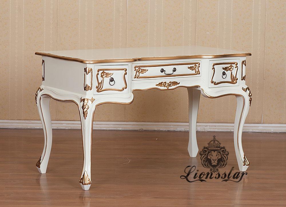 Barock Schreibtisch Weiß Gold