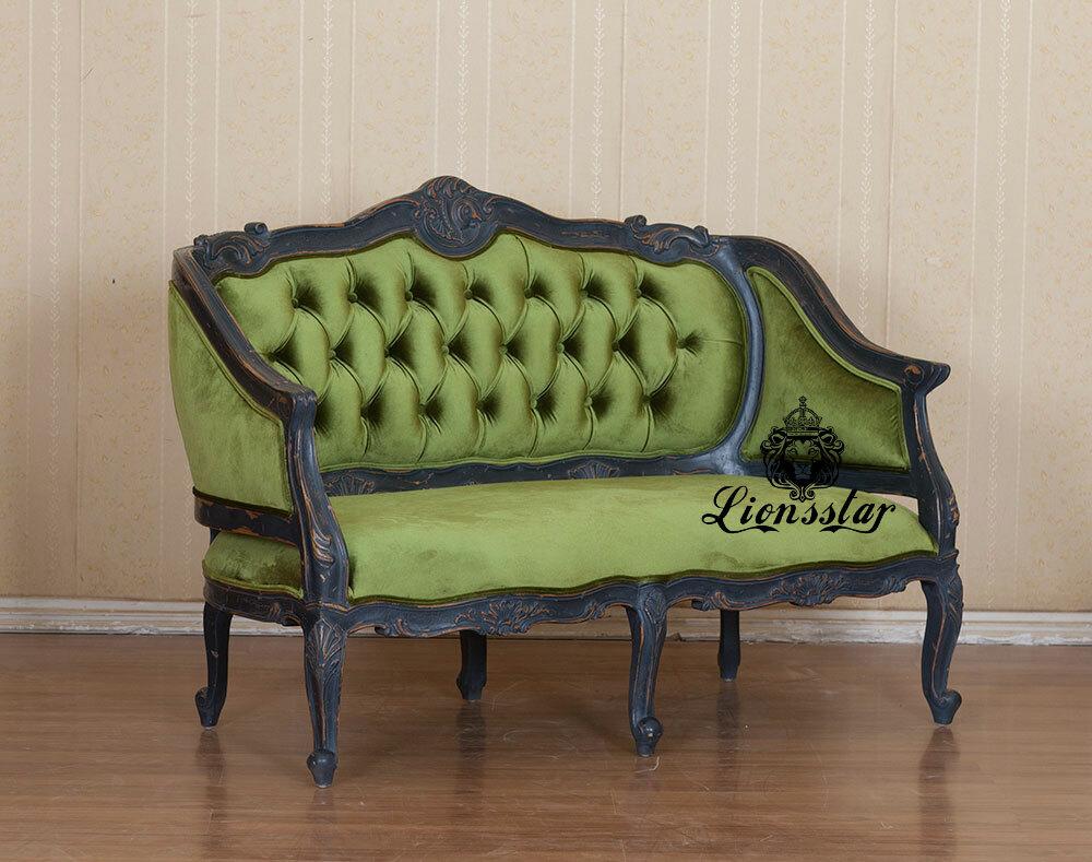 Barock Sofa Shabby Stil Velvet Gesteppt
