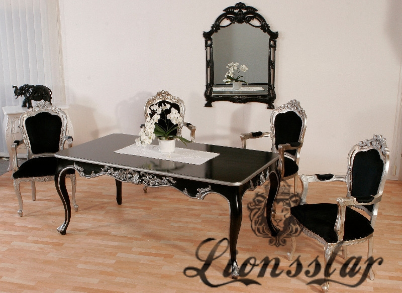 esstisch barock venezia schwarz silber lionsstar gmbh. Black Bedroom Furniture Sets. Home Design Ideas
