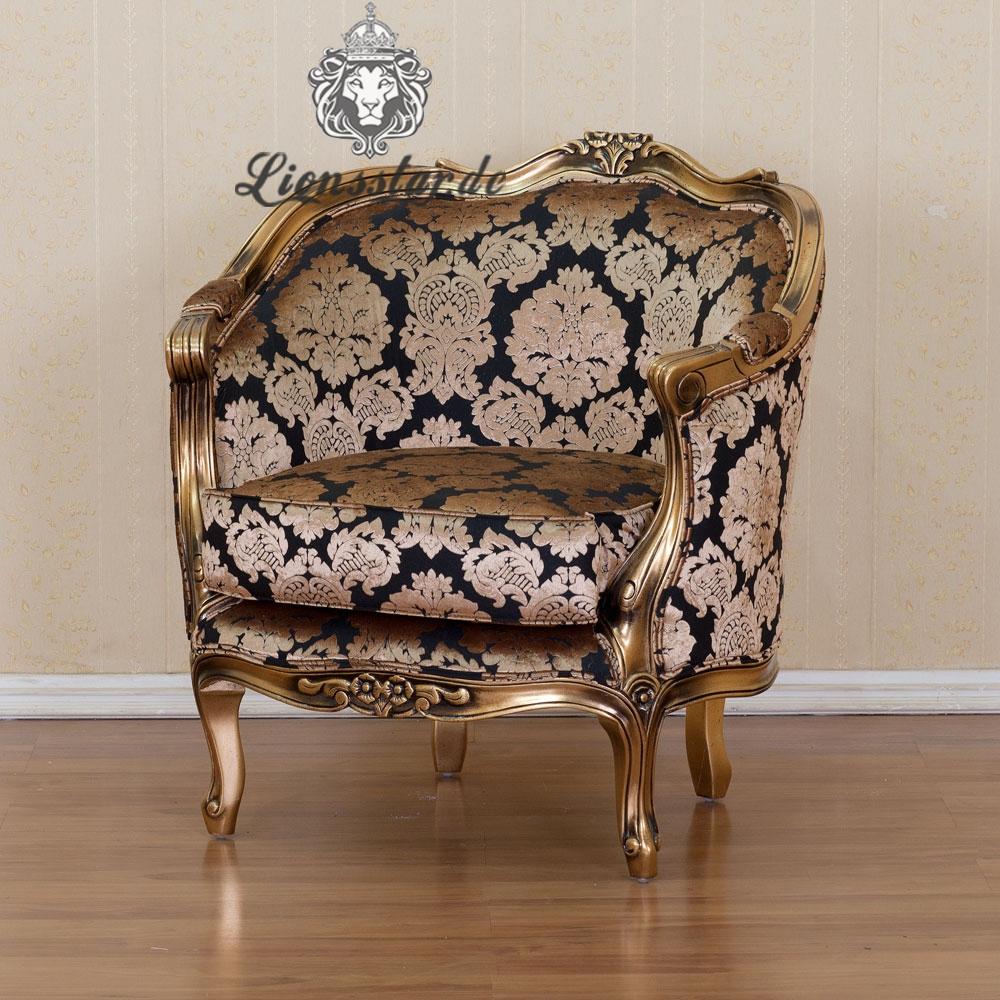 Luxus Stuhl Barock Mahagoni Gold Blume