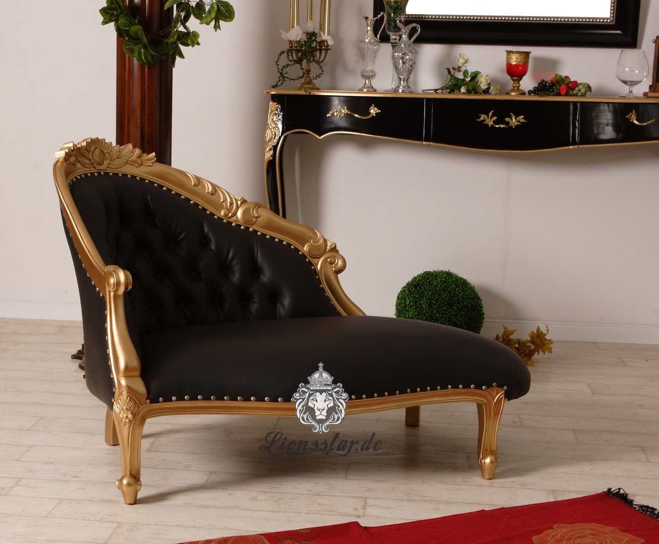 barock sofa recamiere gold schwarz lionsstar gmbh. Black Bedroom Furniture Sets. Home Design Ideas