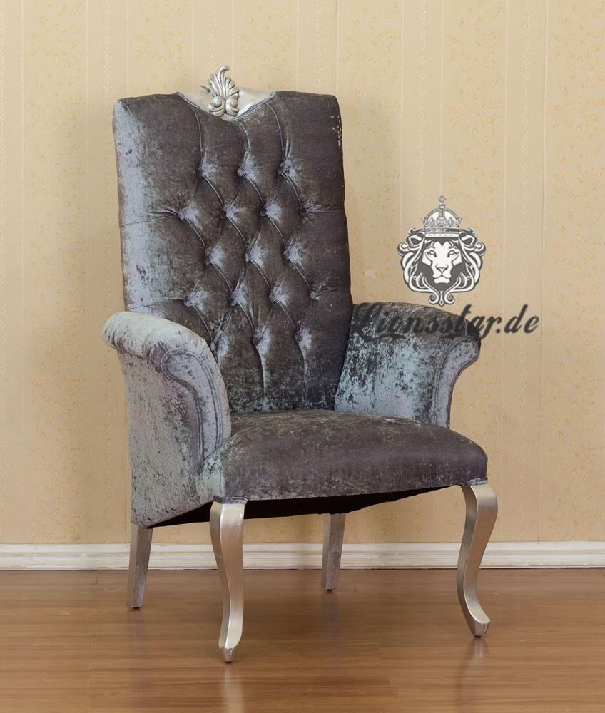 Luxus Stuhl Barock Mahagoni Silber Samt