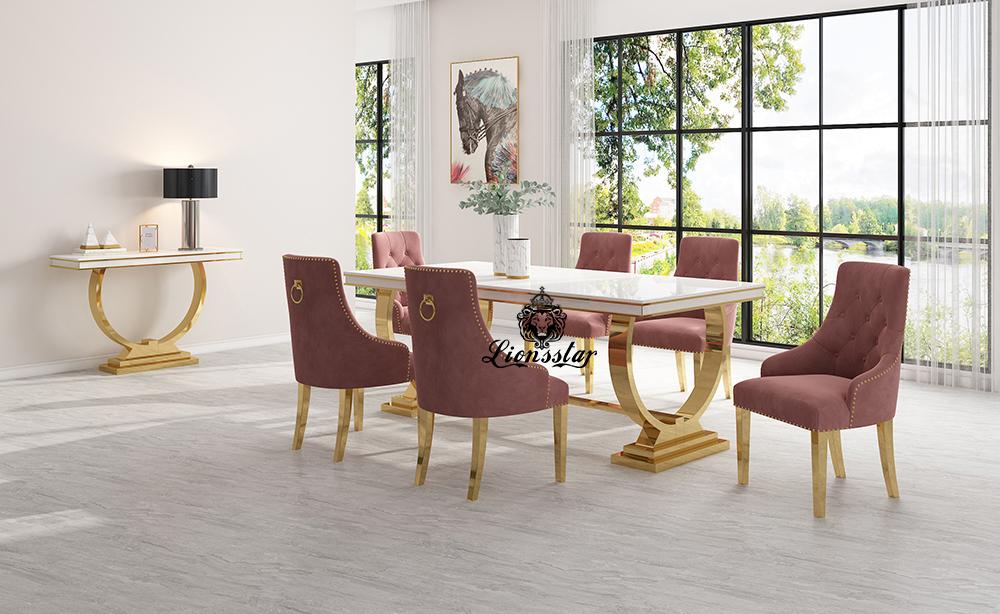 Luxus Esstisch Set Loft Design Gold