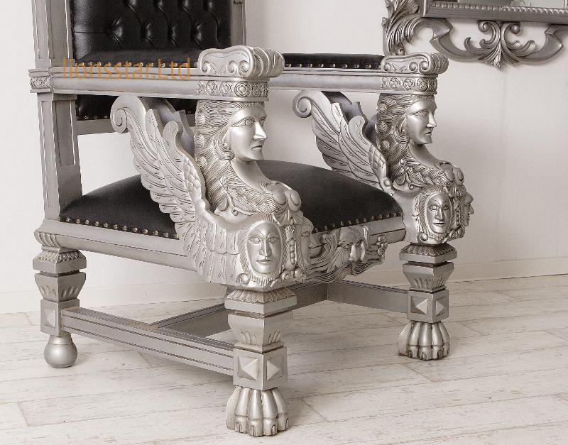Thronstuhl Sphinx Silber Schwarz