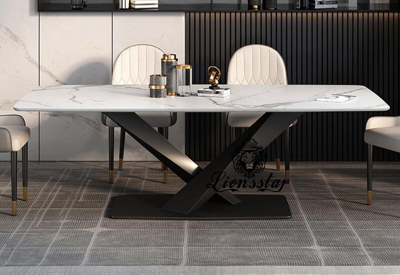Luxus Designer Esstisch Bridge Blacksteel