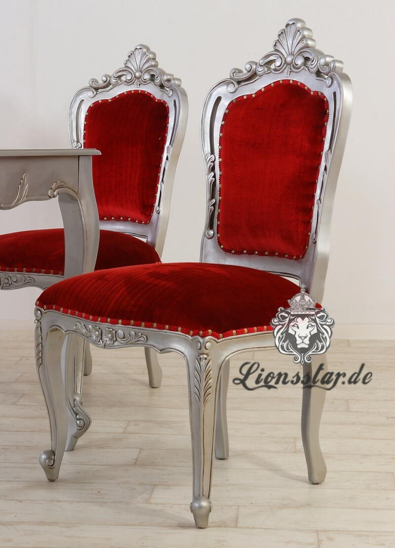 Luxus Stuhl Rot Silber